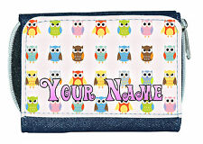 OWL PATTERN PERSONALISED DENIM PURSE / MINI WALLET *GREAT NAMED GIFT / PRESENT *