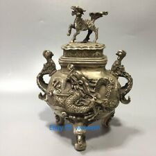 Collection Old Chinese Tibetan Silver Hand-Carved Dragon Phoenix Incense Burner