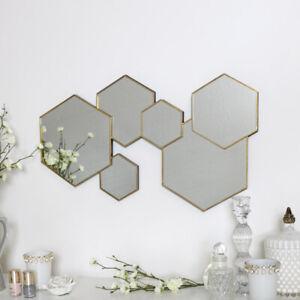 Gold hexagon wall mirror decorative modern art deco contemporary wall art decor