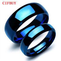 Blau Ringe Edelstahl Lovers' Classical Simple Smooth Damen Herren Finger Bänder