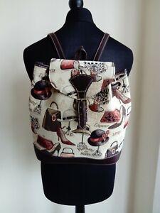 Womens Brown Parisian Canvas Backpack School Bag - Small Medium