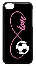 Soccer Girl Pink Infinity Love Black Case Cover for iPhone 4s 5 5s 5c 6 6+