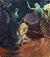 """Expressionist Öl Leinwand """"Bestrafung"""" 110 x 97 cm"""