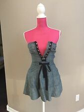 3994aeb0f7 JUICY COUTURE Denim DRESS Size 0 STRAPLESS BLUE WITH SHORTS HOOK   EYE