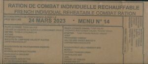 DESTOCK 12 rations combat francaises menus différents DDM 2023 / 2024 RCIR--MRE