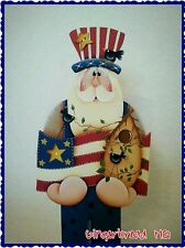 Hand Painted Wooden Standing Uncle Sam, Patriotric, Americana, Flag, Yard Decor