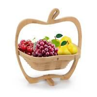 NEW FOLDING BAMBOO APPLE SHAPED FRUIT BOWL BASKET COLLAPSIBLE FRUIT HOLDER