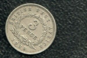 BRITISH WEAT AFRICA  3 PENCE 1938