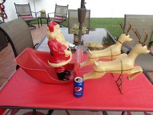Antique Vintage Santa, Sleigh and Reindeer Blow Mold Plastic? 1960's RARE HTF