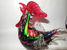 "Spectacular 8""  Blown Art Glass Rooster Chicken Sculpture Multicolor"