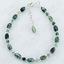 Genuine 925 Sterling Silver Green Grass Agate Gemstone Bracelet Women Girl