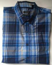 VAN HEUSEN ClassicFit Men's Blue Plaid/Check ButtonFront S/S Shirt L 16-16 1/2