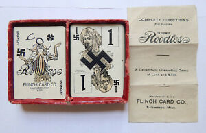 1912 Game of Roodles with Swastika Suit - Complete by Flinch Card Co