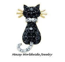 10K YELLOW GOLD TWILIGHT BLACK & WHITE DIAMOND FRISKY CAT NECKLACE PENDANT .35CT