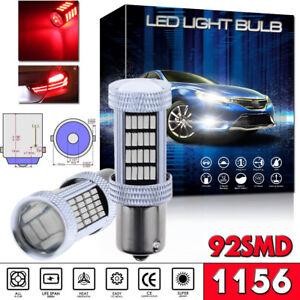 2pcs BA15S P21W 1156 Red Car Tail Stop Brake Light Super Bright 92SMD LED Bulbs