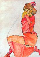 Kneeling Female in Orange Red Dress by Egon Schiele A1 Quality Canvas Art Print