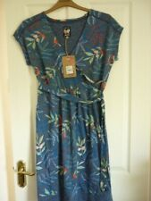 MANTARAY BLUE MULTI SPOTTED LEAF JERSEY TEA DRESS. UK 12, EUR 38-40, US 8. BNWT