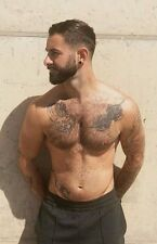 Shirtless Male Muscular Man Beefcake Hairy Chest Tattoos Beard PHOTO 4X6 D829