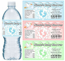 30 PERSONALIZED BABY SHOWER WATER BOTTLE LABELS ~ Glossy ~ Waterproof Ink