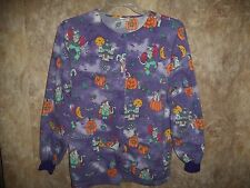 SIMPLY BASIC LONG SLEEVE HALLOWEEN, SCRUB TOP SIZE S (2 POCKETS) SNAPS IN FRONT
