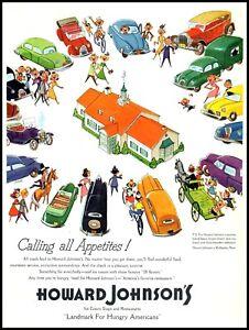 1954 Howard Johnson's motor lodge travel cars family vintage art Print Ad  adL23