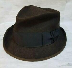 Vintage Stetson Royal De Luxe The Eagle Fedora Hat Mens Size 7 1/4 Chocolate