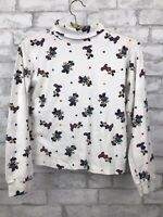 Vintage Mickey Mouse Turtleneck Shirt 90s Disney All Over Print Girl Size Medium