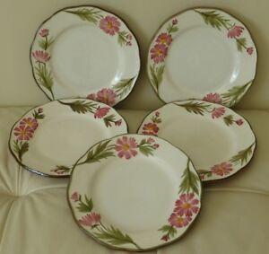 """Vintage STANGL Pink Cosmos Salad Dessert Plates 7 3/4"""" Set of 5"""