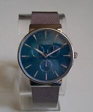 MEN'S SILVER FINISH BLUE DIAL  DRESSY/CASUAL STYLE FASHION WRIST WATCH