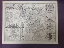 DERBYSHIRE County Map in 1610 by John Speed - Uncoloured