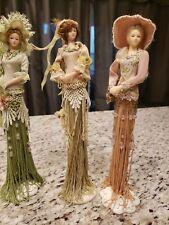 "3 Victorian Women Dress Ornament on Stand Fringe Strings 11"""