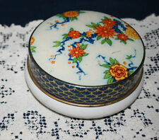 Floral Tin Made in Great Britian  Chinese style print on top with low white base