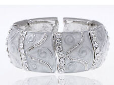 Soft Pearly Pearlescent White Enamel Paint Swirl Design Stretch Bracelet