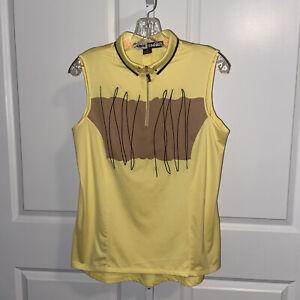 Jamie Sadock Yellow Tan Sleeveless Golf Shirt Zip Front Size Medium