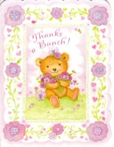 Pink Teddy Bear & Flowers Thank You Note Cards Blank Inside - American Greetings