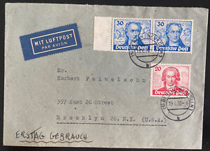 1950 Berlin Germany first Day cover to Brooklyn NY Usa Goethe Stamps