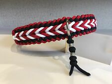"""Bennos Happiness Paracord Dog Collar Blk/Red/White 15""""-19"""""""