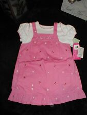 NWT Wishes & Kisses Adorable Bibbed Overall Dress & top size 24 months