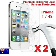 2X Tempered Glass Screen Protector Film Guard Scratch Resistant For iPhone 4 4S