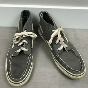 Sperry Top Sider Men's Leather High Top Boat Shoes Size 8M Gray