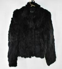 Womens Vintage? Black Rabbit Fur Jacket Coat sz M Medium Raffaelo Leather