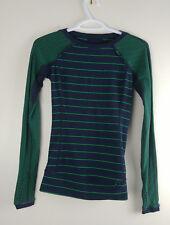 Lululemon Full Tilt Long Sleeve Size 2 Shirt Blue Green Stripe Inkwell + Pocket