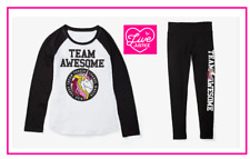 *NEW* JUSTICE GIRLS SIZE 7 8 10 TEAM AWESOME UNICORN TOP N LEGGINGS OUTFIT SET