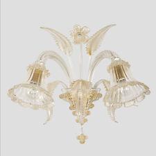 Applique 2 luci cristallo oro in vetro di Murano classica