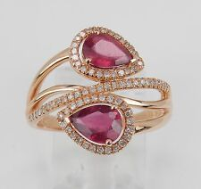 Cocktail Bypass Ring Size 6.75 July Gem 14K Rose Gold 2.10 ct Diamond and Ruby