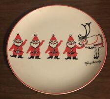 Georges Briard Santa Salad Plate Waving Reindeer 1971 Plate Signed 7.5 Inches