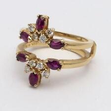 Vintage Estate 14k Yellow Gold Diamond & Ruby Ring Jacket Guard 5g Size 6.5