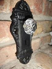 Cast Iron decorative door knob acrylic knob Key hole door handle black finish.