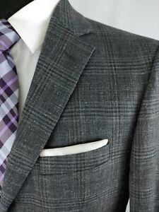 Jos A Bank Men's 2 Button Sport Coat Blazer Jacket Plaid Silk Wool Size 39/40R