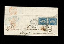 France1864 20c Napoleon pair Paris to Cadiz cover with Spanish cancel w/ cert